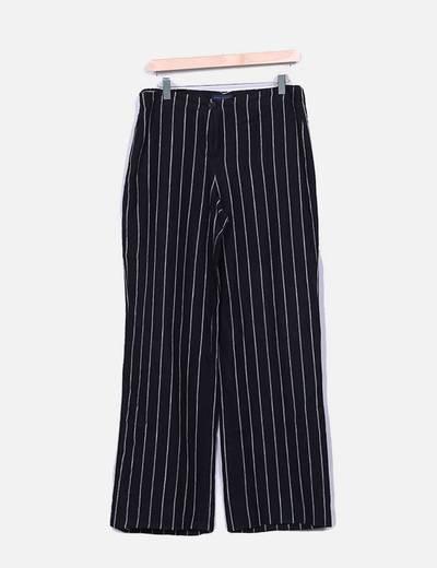 Pantalón recto de rayas bicolor