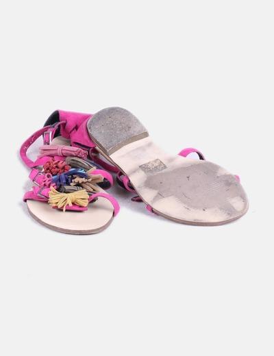 Sandalia plana rosa fucsia