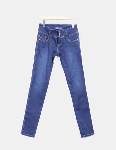 Jeans denim pitillo tiro alto Fiofina