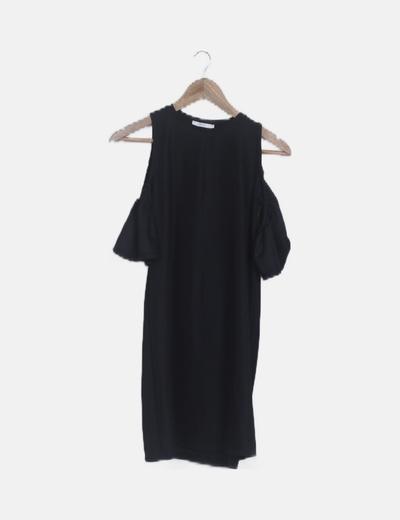 Vestido mini texturizado hombros descubiertos