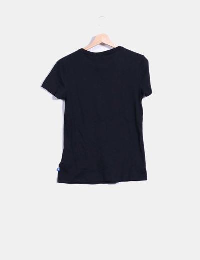 Camiseta negra print dorado