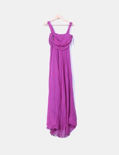 Vestido seda fucsia con foulard y tocado