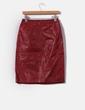 Falda midi granate de piel Amichi