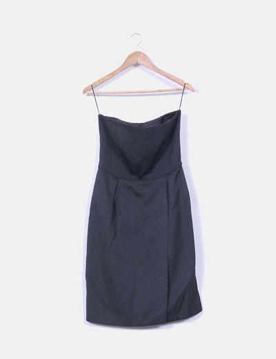 Vestido negro palabra de honor texturizado Zara