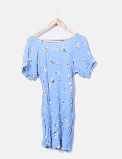 Vestido fluido azul estampado VILA