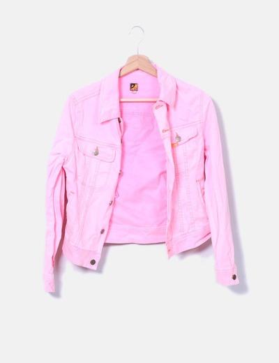 brillante n color precio bajo más nuevo mejor calificado Chaqueta denim rosa