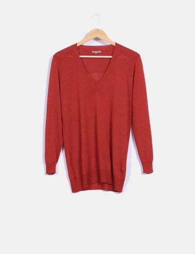 Top tricot manga larga rojo Uterqüe