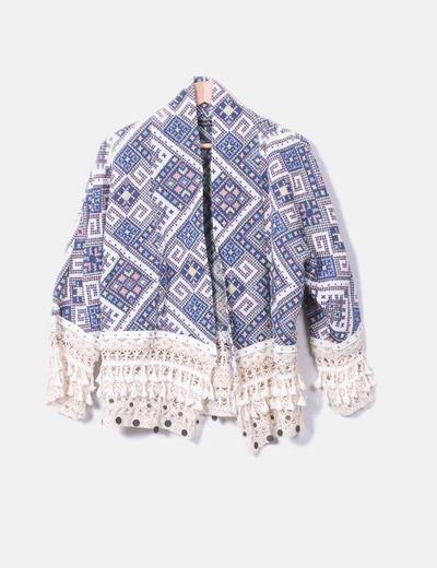 Kimono étnico flecos Mapro