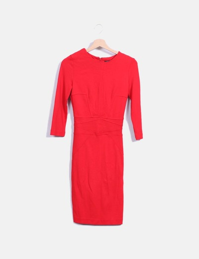 0228288be1 Mango Vestido rojo entallado manga larga (descuento 71%) - Micolet
