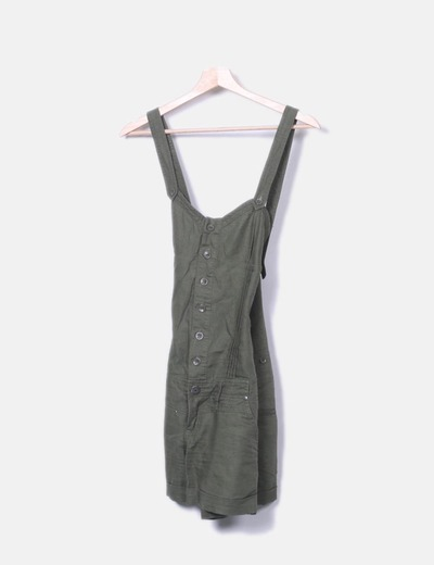 Green denim jumpsuit Stradivarius