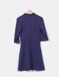 Vestido azul marino texturizado detalle cadenas Jeu Poitrine