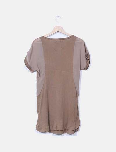 Vestido marron combinado manga corta