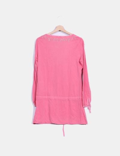 Vestido rosa efecto desgastado