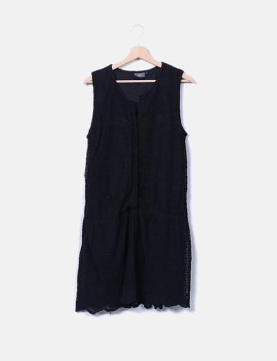 Vestido negro crochet con botones Ichi