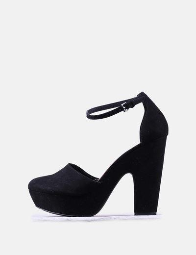Sandales à talons noires larges antelina Lefties