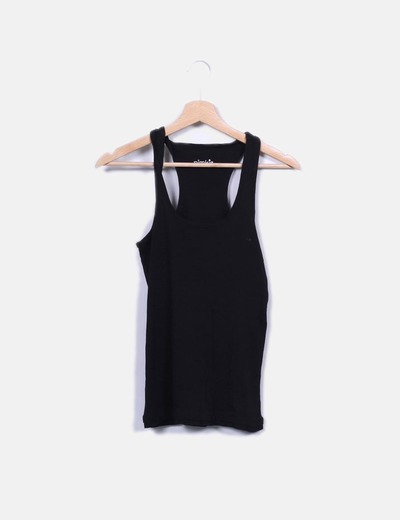 T-shirt noir à bretelles Pimkie
