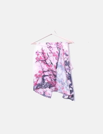 Pañuelo rosa satinado print floral NoName