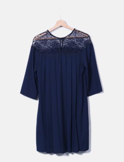 Vestido azul marino combinado encaje