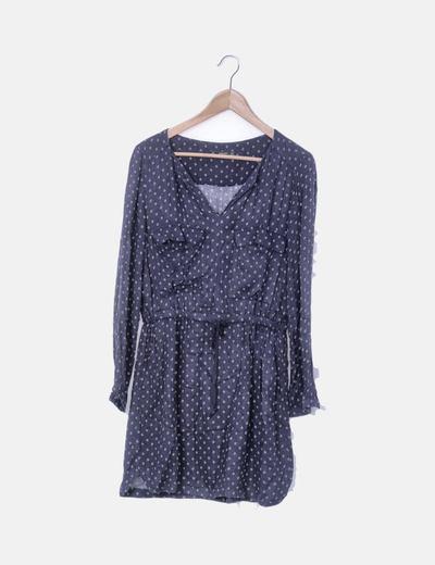 Vestido azul marin estampado