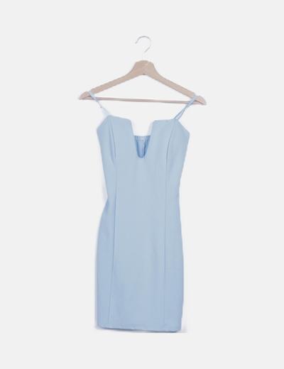 Vestido ceñido azul escote cuadrado