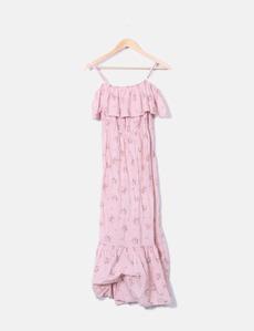 Maxi vestido rosa floral NoName