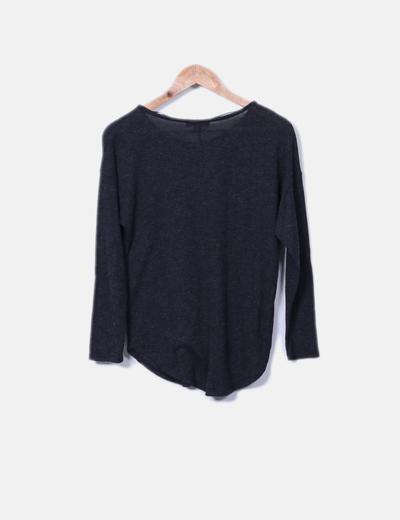 Camiseta de punto gris jaspeada