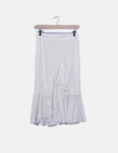 Falda crochet blanco roto con volantes