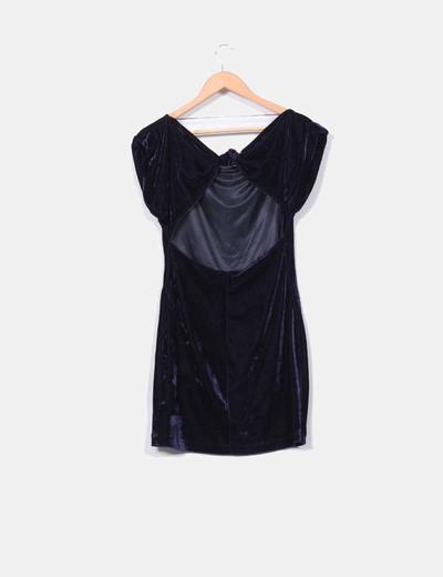 Vestido de terciopelo azul zara