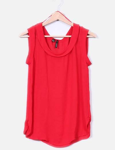 Camisa roja con escote redondo Mango