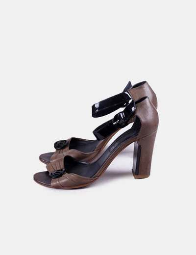 Sandalia tacón kaki Loewe