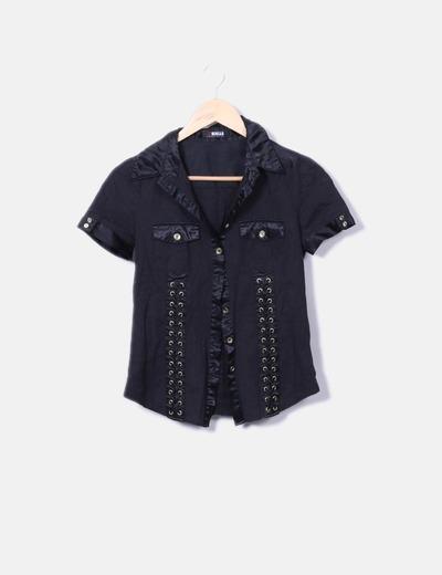 T-shirt noir en satin Morgan
