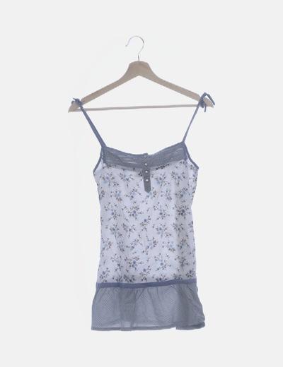 Blusa blanca print combinado azul