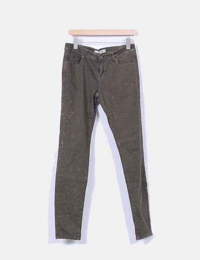 Jeans denim verde pitillo jaspeado FB Sister