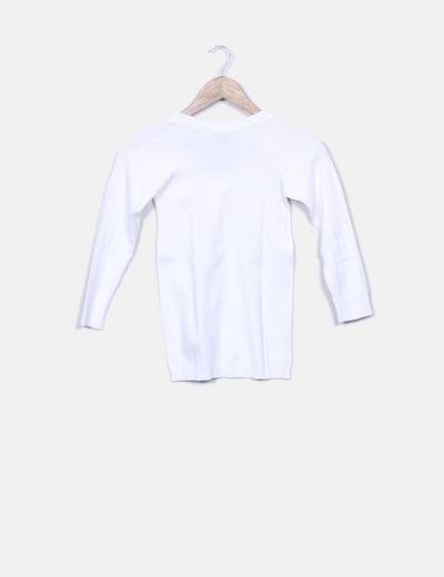 Tricot blanco cuello pico