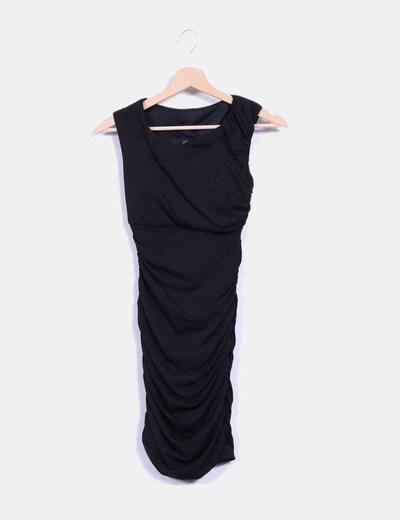 Vestido negro drapeado con transparencias NoName