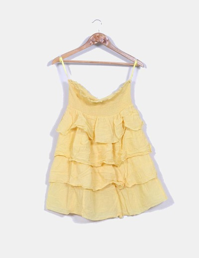 Vestido amarillo con volantes Suiteblanco