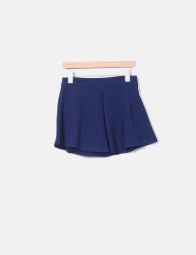 Falda azul marina texturizada