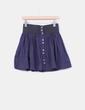 Falda mini azul abotonada con cinturilla Zara