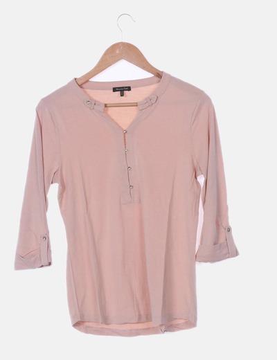 Camiseta rosa mangas francesa