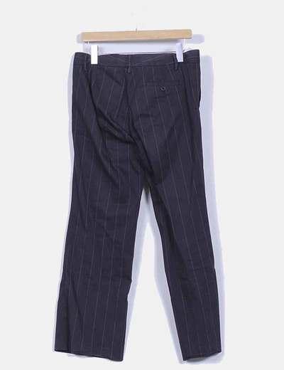 Pantalon gris estampado rayas finas