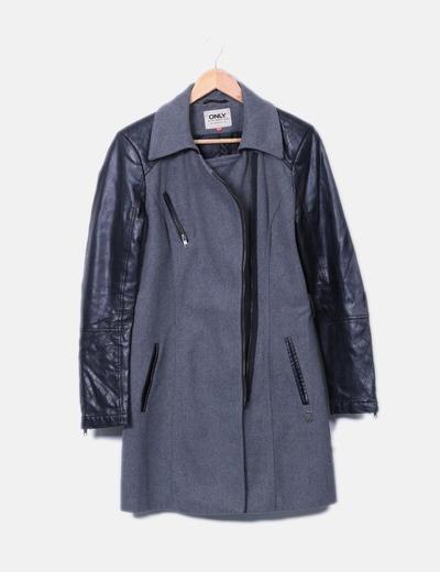 Manteau gris à manches de similicuir ONLY