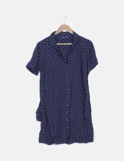 Vestido camisero azul marino con topos