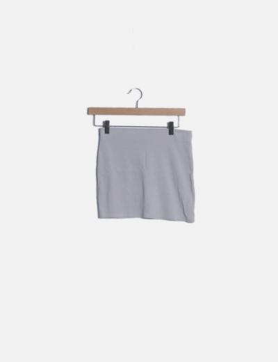 Falda mini gris claro basic