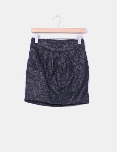 Falda gris con brillos efecto piel de serpiente Suiteblanco