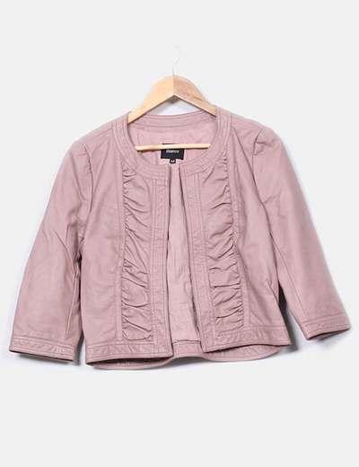 Chaqueta polipiel rosa palo
