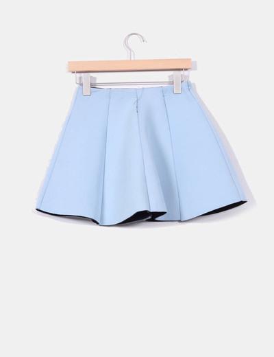 198122bb5b Pull Bear Falda azul avolantada de neopreno (descuento 74%) - Micolet