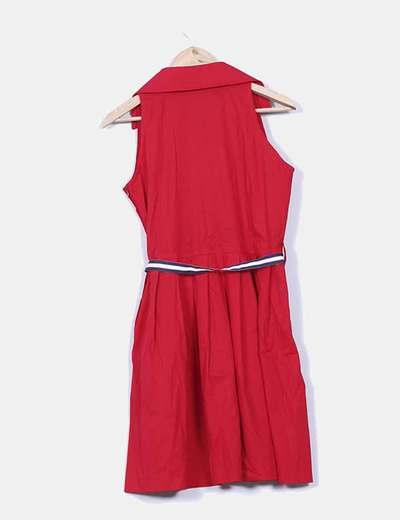 Vestido rojo navy con cinturon