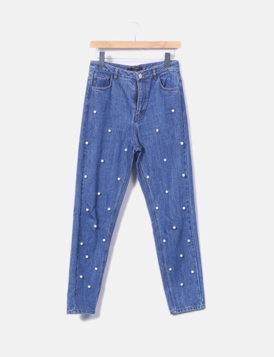 Jeans denim azul con perlas