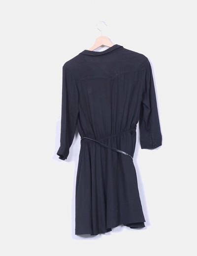 Vestido negro efecto camisa