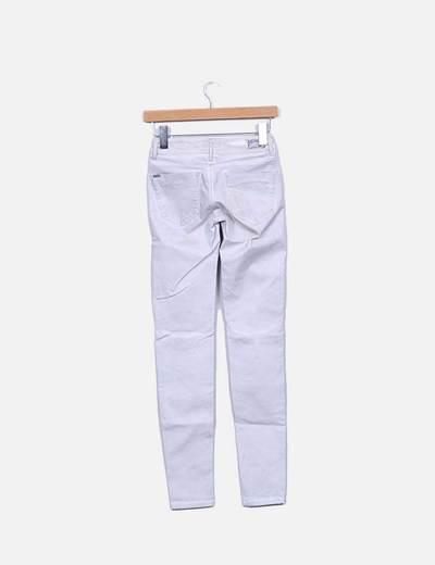 Jeans denim gris push up con strass